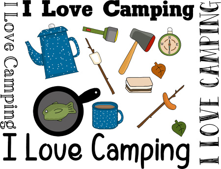 """""""I Love Camping"""" is a Free Appliqué Pattern from Free Appliqué Patterns"""