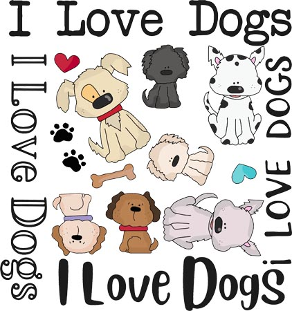 """""""I Love Dogs"""" is a Free Appliqué Pattern from Free Appliqué Patterns"""