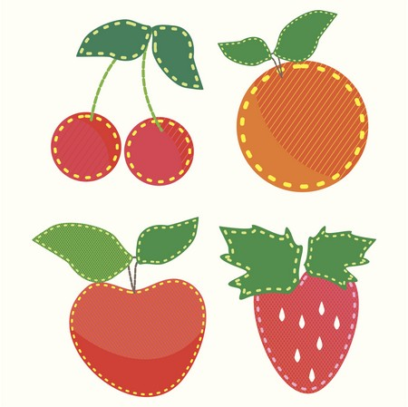 Applique Pattern - Stitch Cherries, Oranges, Apples and Strawberries