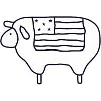 Barnyard Sheep With Flag