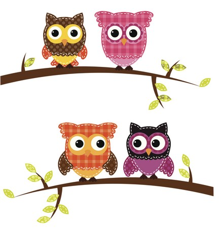 """Cute Owls"" Free Appliqué Pattern from Free Appliqué Patterns"