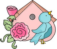 Bird house with flowers